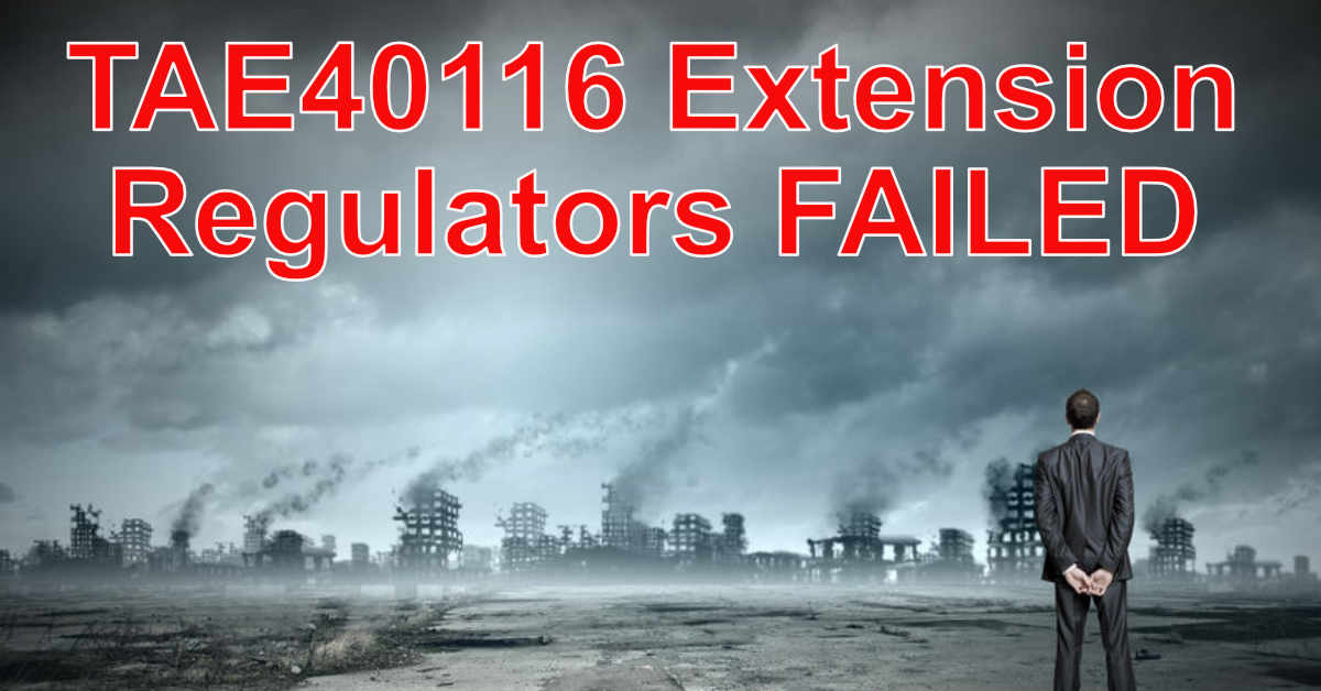 TAE40116 Extension Regulators Failed