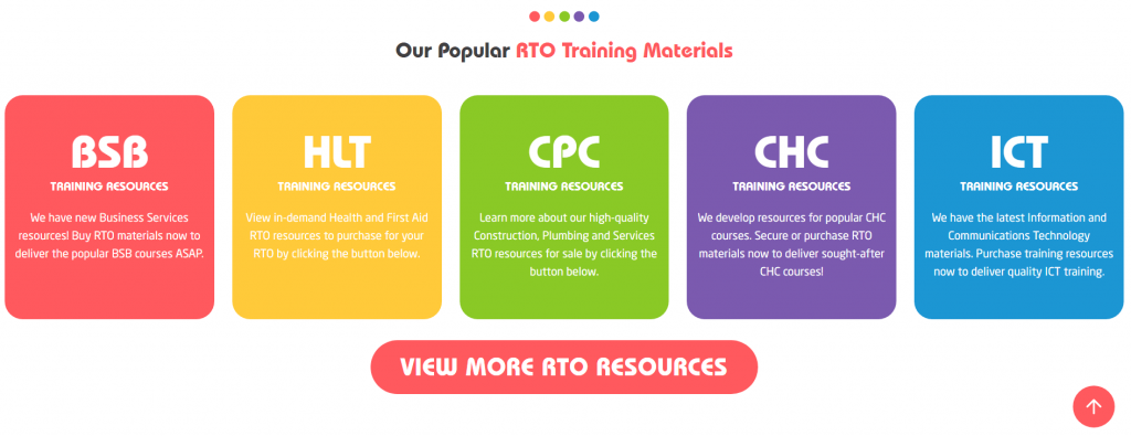 Homepage - Our training resources for different training packages